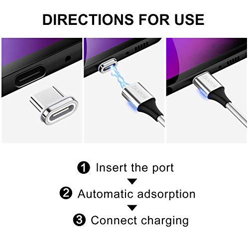 ZKAPOR Magnetisches USB C Kabel, [2Stück, 1m] Nylon Magnet Ladekabel USB Typ C Schnellladekabel für Samsung Galaxy S10/S9/S8+/A40/A50/M20, Huawei P30/P20/Mate 20, Xiaomi, Moto, Sony Xperia, Oneplus