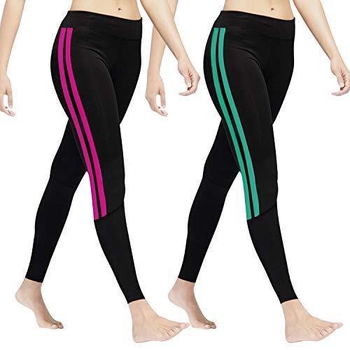 GoVIA Leggings Damen Laufhose Luftdurchlässige Trainingshose Sporthose Yogahose Fitness Yoga High Waist Lang Streifen 4138 Türkis+Pink L/XL