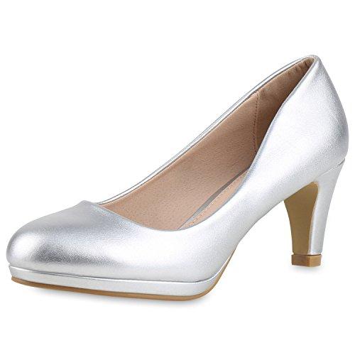 SCARPE VITA Damen Klassische Pumps Stilettos Leder-Optik Elegante Schuhe 165258 Silber 36