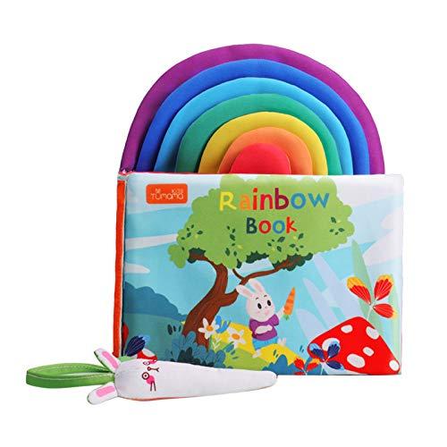 Nobranded Bebé Libro Colorido 3D Suave bebé Libros de Tela educativos temprano Aprendizaje número inglés Letra Iris Libro niño sonajero Juguete