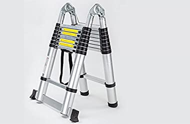 Telescoping Ladder A Frame 8FT/2.5M Straight Ladders 16.5ft Folding Extension Step Ladders Aluminum Compact Retractable for B