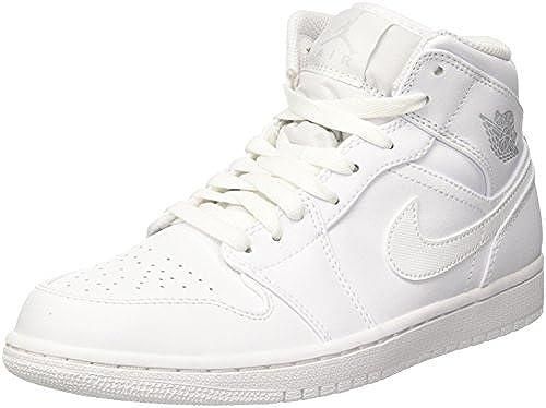 Nike Nike Nike Herren Air Jordan 1 Mid Basketballschuhe, Elfenbein ( Weißspure Platinum Weißs 104), 47.5 EU  große rabattpreise