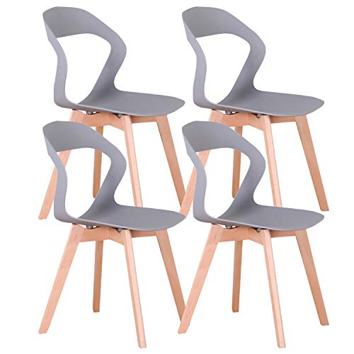 555 - Conjunto de 4 sillas de comedor/sillas de café con respaldo calado de madera maciza, estructura estable