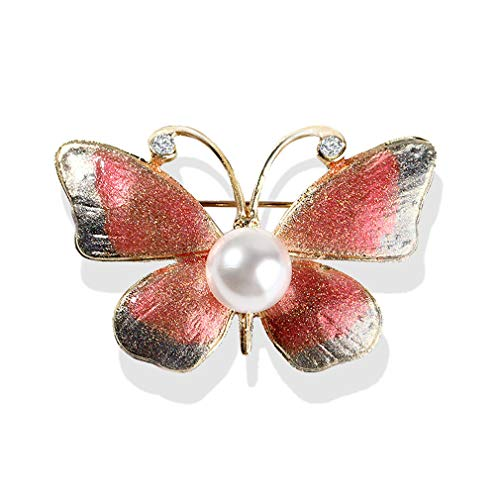 YAZILIND Moda Insecto Color Rhinestone Mariposa Collar Broche Alfiler Mujeres Ramillete Alfileres Fiesta joyería Regalo Rosa