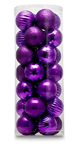 AUXO-FUN 1.57 28ct shatterproof Christmas Ball Ornaments in 4 Classic finishes for Christmas Tree Decoration (Purple)