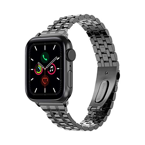 TOWOND Correa del Reloj Compatible con Apple Watch,Pulsera de Reloj de Reemplazo de Acero Inoxidablepara Series 6/SE/5/4/3/2/1,Apple Watch Correa 42mm 44mm para Hombre &Mujer Negro, 42/44mm
