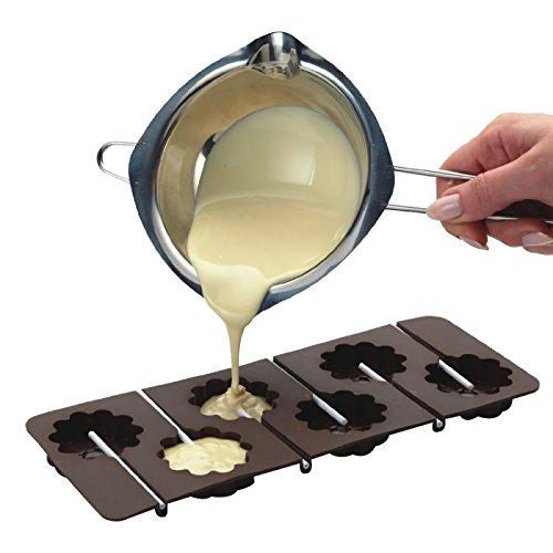 Hecho de acero inoxidable 304, mas saludable y perfecto para adaptarse a la mayoria de las macetas. AMPLIAMENTE UTILIZADO - se puede utilizar para derretir mantequilla, queso, caramelo, chocolate, dulces, cera, etc. FaCIL DE USAR: Tambien se utiliza ...