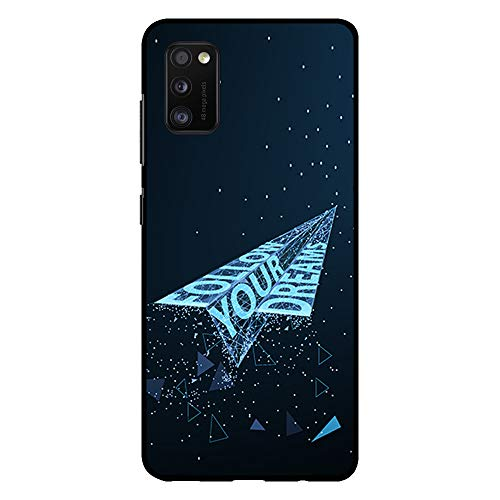 BJJ SHOP Funda Negra para [ Samsung Galaxy A41 ], Carcasa de Silicona Flexible TPU, diseño : Avion de Papel futuristico Follow Your Dreams