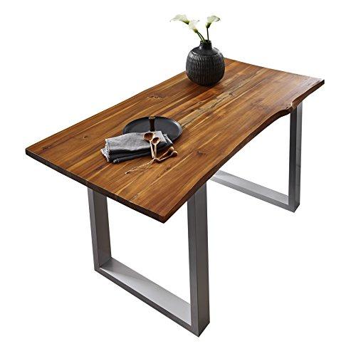 SAM Esszimmertisch 120x80 cm IDA, Cognac, Massiver Esstisch aus Akazienholz, Metallbeine Silber, Baumkantentisch