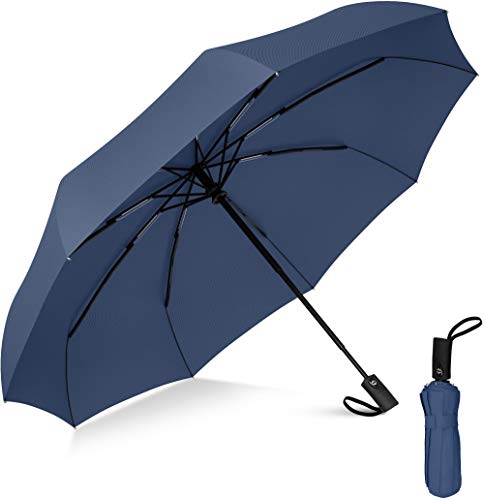 Rain-Mate Compact Travel Umbrella - Windproof Umbrella - 9 Rib Reinforced Canopy - Auto Open and Close Button (Navy Blue)