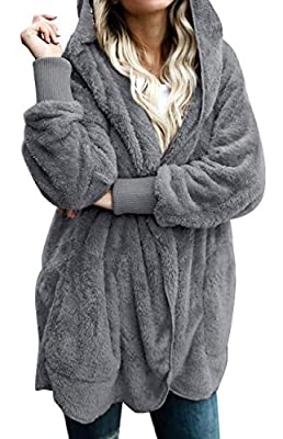 Womens Fuzzy Jacket Sherpa Coat Open Front Hooded Cardigan Outwear with Pockets (Dark Grey,L)