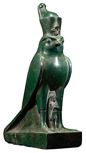 WQQLQX Statue Griechische Gottestatue, Horus Falcon Skulptur Ägyptische Pharaonenpatron Antike Kopie Kunst Ornamente Handbild Modell L Statuette Skulpturen