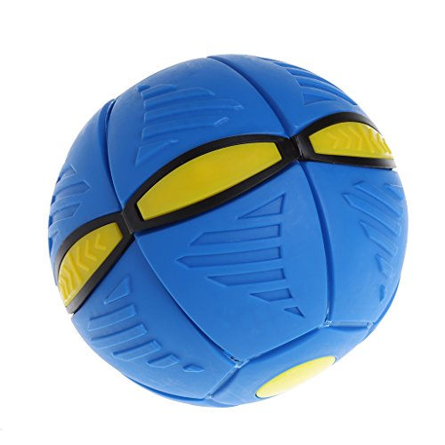 JAGENIE Flying UFO Flat Throw Disc Ball mit LED-Licht Spielzeug Kid Outdoor Garten Strand Spiel blau