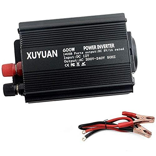 LLSS Convertidor de Voltaje 600W 12V / 24V a 210V, inversor de Coche 220V, con conexión USB, conexión de Corriente alterna, para portátiles, videoconsolas, iPad