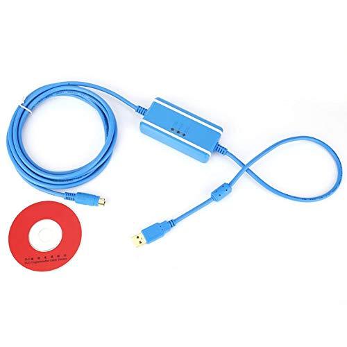 Cable de programación USB-SC09-FX, cable de núcleo de cobre estándar es 28AWG Led Indicato Cable de programación PLC, inserción y desgaste reducidos para talleres industriales