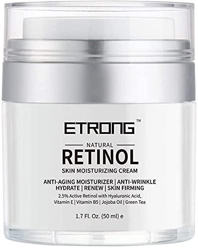 Retinol Creme, ETRONG Feuchtigkeitscreme Gesicht, Gesichtscreme Damen Männer, Mit 2.5% Retinol 50...