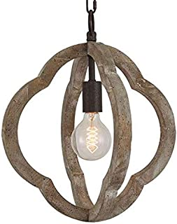 Wood and Metal Orb Frame Chandelier 1XE26 Lamp Holder American Vintage Retro Indoor Wooden Pendant Lights 13.8X13.8 Inch Antique Ceiling Lights Fixture UL Approved 5 Years Warranty