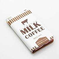 スマホケース 手帳型 ミルクコーヒー レザーケース ミルク milk カフェ オシャレ おしゃれ パロディ おもしろ 面白 トレンド XPERIA GALAXY ARROWS AQUOS Android(汎用型※スライドタイプ※Mサイズ)