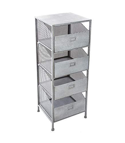 Atmosphera Meuble Commode chiffonnier 4 tiroirs - Style Atelier, Industriel Loft - Coloris Gris Patiné Blanc