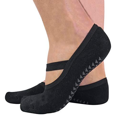 sock snob 2er Pack Damen Baumwolle Bunt Invisible Yoga Socken Füßlinge mit Antirutsch ABS Sohle & Silikon (37/42 EUR, Black)