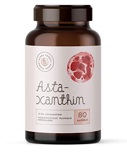 ASTAXANTHIN | 12mg | Aus reiner Haematococcus Pluvialis-Mikroalge | Optimierte Bioverfügbarkeit mit Leinöl - Ohne Zusatzstoffe, ohne Hilfsstoffe | 80 vegane Depot-Softgels