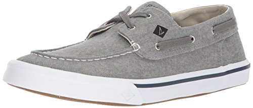 Sperry Mens Bahama II Boat Washed Sneaker, Grey, 9