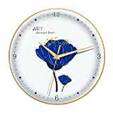 Reloj de pared,reloj de dormitorio no ticture con batería creativa,reloj de cuarzo de Mute de Klein Blue Art Mute for la decoración de la oficina en el hogar, ( Color : Gold frame , tamaño : 14in )
