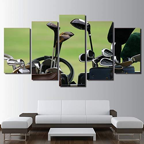 GUDOJK houten frame canvas muurkunst frame woonkamer wooncultuur modulaire poster 5 stuks golfclubs schilderij HD gedrukt golfveld afbeeldingen 20x35 20x45 20x55cm