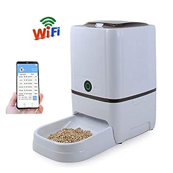 WESTLINK Distributeur Automatique de Nourriture pour Chats, avec Chargeur Intelligent, WiFi, Enregistreur Vocal, Programmateur, 8 Repas par Jour et Protection Contre La Mise Hors Tension (6L)