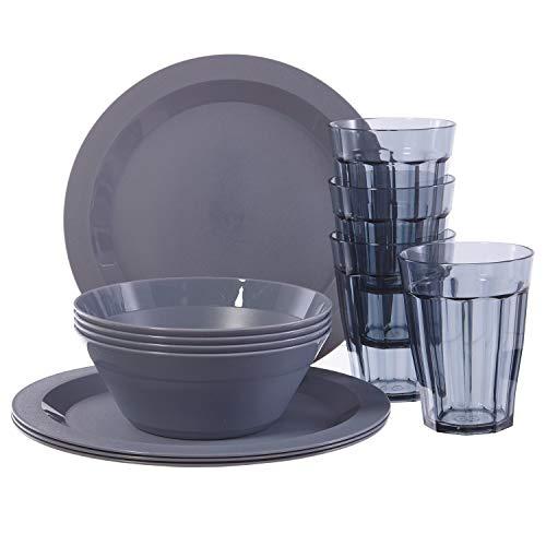 Cambridge - Juego de 12 platos de plástico, cuencos y vasos, de plástico