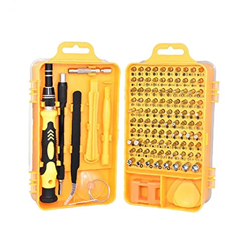 Gracy 115 en 1 Juego de Destornilladores Destornillador bit Kit multifunción de precisión de reparación de teléfonos Dispositivo de Herramientas de Mano Torx Hex Amarillo, Destornillador