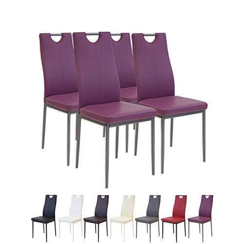 Albatros 2913 Salerno Esszimmerstühle, 4-er Set, violett
