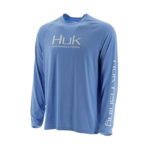 Huk Men's Pursuit Vented Long Sleeve Performance Fishing Shirt with +30 UPF Sun Protection, Carolina Blue, Medium