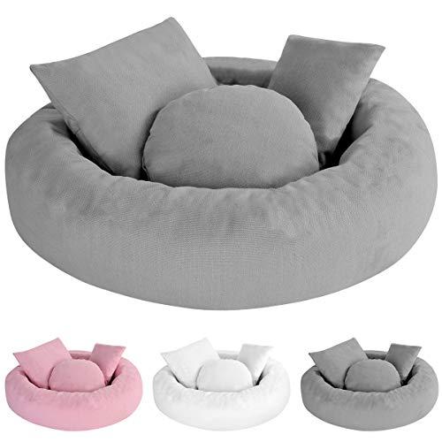 5 Piezas Accesorios de Fotografía para Bebés Recién Nacidos Donut Almohada Posando Almohada Kit de Relleno de Cesta de Bebé Media Luna Posando Almohada Relleno de Cesta para 0-3