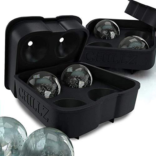 HEMFV Tragbare Eismaschine Ice Ball-Hersteller-Form - Schwarz Flexible Silikon-EIS-Behälter - Formen 8 x 4,5 cm Runde Ice Ball Kugeln, 2PC