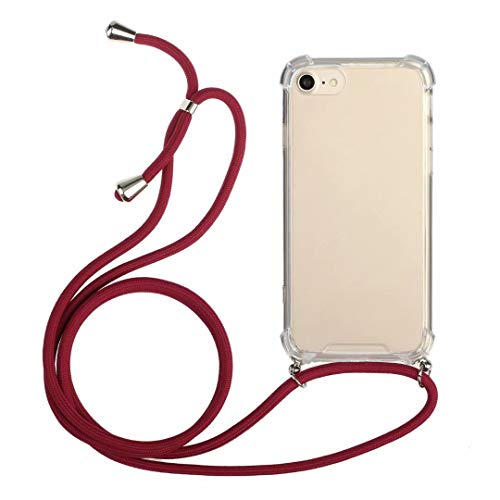 Crossbody Case Compatible with iPhone Xs Max - Shockproof Clear Transparent TPU Cell Phone Mobile Protective Cover Holder with Adjustable Neck Cord Lanyard Strap for iPhone Xs Max Red