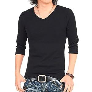 [イナセ] メンズTシャツ 無地 7分袖 七分袖 Vネック インナー ティーシャツ カットソー ー 6-Black-7分袖 Mサイズ