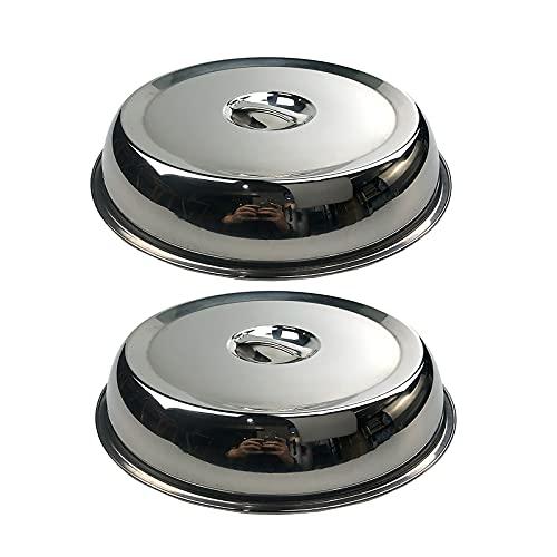 2 piezas de cubierta redonda de acero inoxidable, cúpula para derretir queso y cubierta para cocinar al vapor, lo mejor para parrilla de plancha superior plana para cocinar en interiores/exteriores