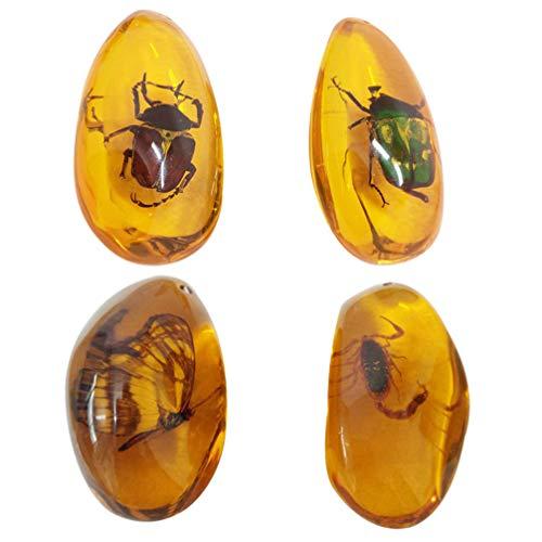 EXCEART 4 Pz Ambra Insetto Esemplare Ciondolo Artigianale Creativo Bellissimo Resina Fascino Perline di Pietra per Collana Fai da Te Orecchini Creazione di Gioielli (Colore Casuale)