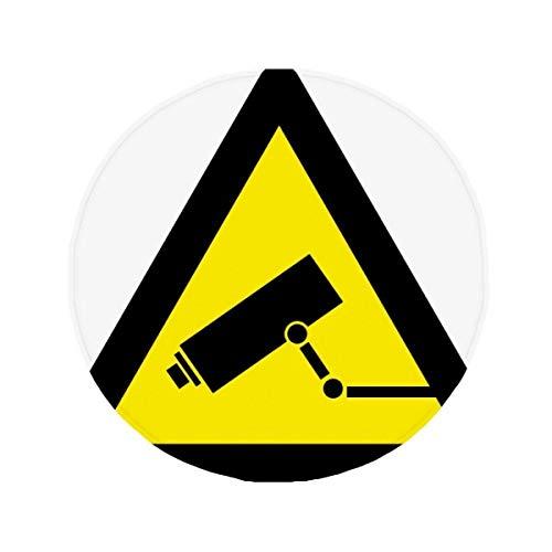 DIYthinker Warnung Symbol gelb schwarz Monitor Kamera Triangle Anti-Rutsch Boden Pet Matte rund Badezimmer Wohnzimmer Küche Tür 60/50cm Geschenk, Gesponnenes Polyester, Mehrfarbig, 50X50cm