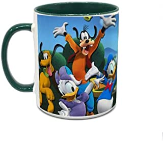 IMPRESS White and Green Ceramic Coffee Mug with Micky and Friends Design 1001