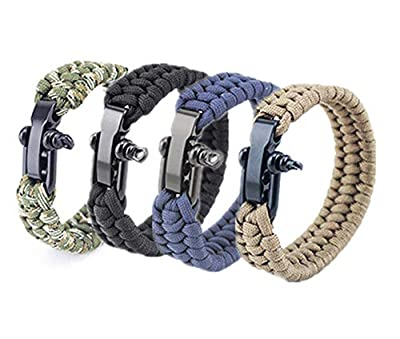 Hewnda 4Pack Paracord Survival Bracelet with Stainless Steel Black U Shackle (4 Colors)