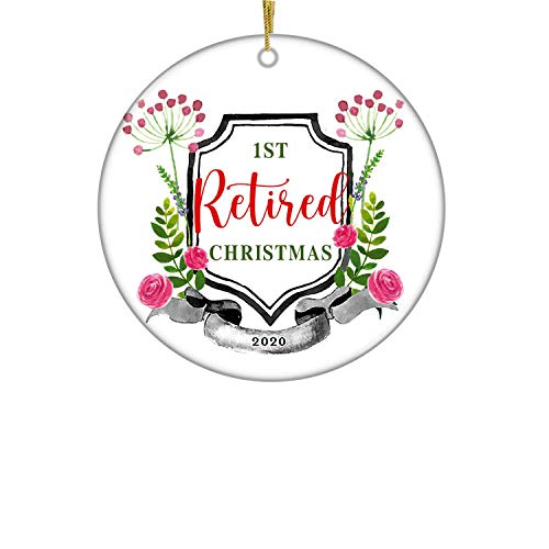 XIAGEANA First Retired Christmas 2020 Dated Keepsake- Christmas Ornament Office Company Job Retirement Party Gift 1st Holiday Retiring 3' Flat Circle Porcelain Christmas Tree Ornament with Gift Box