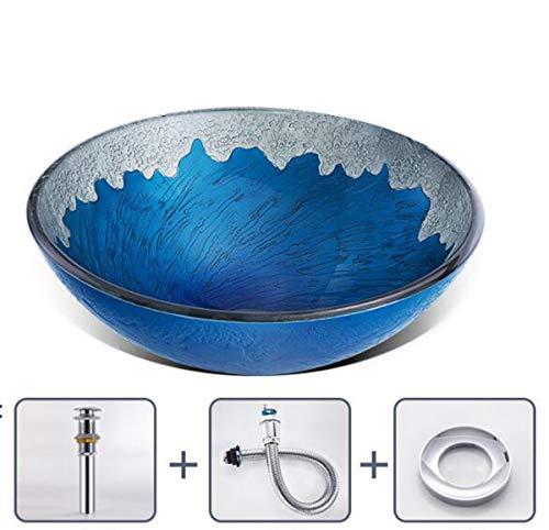Nancyr ronde wastafel van gehard glas, wastafel voor badkamer, wastafel