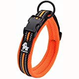 TRUE LOVE Collier de Chien Réfléchissant Réglable Nylon Solide Confort rembourré Colliers Pet Classic TLC5011(Orange,M)