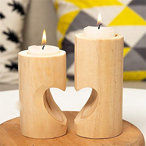 Baoer 2Pcs Tea Light Candle Holders, Personalized Wooden Candlestick for Rustic Wedding Party Birthday Holiday Dining Table Centerpiece, Coffee Table, Mantel, Or Any Table Top Square Suit