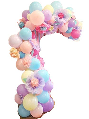 Fonder Mols DIY Pastel Balloons Garland Kit with Flowers 110pcs Assorted Macaron Candy Colored Latex Party Arch Balloons for Unicorn Wedding Graduation Kids Birthday Party Baby Shower Decorations