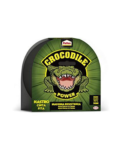 Pattex Crocodile Power Klebeband, stark, doppelt dick, Klebeband mit starker Klebekraft, Isolierband für mehrere Materialien, Schwarz, 20 m