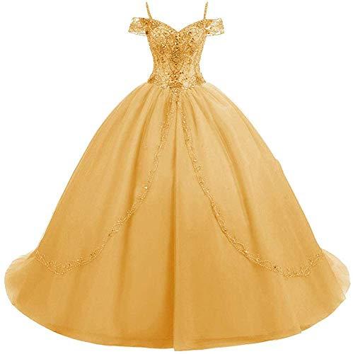 HUINI Ballkleider Lang Vintage Brautkleid Hochzeitskleid Damen Prinzessin A-Linie Abendkleid Quinceanera Kleider Orange 54