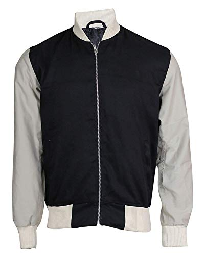 Mens Baby Driver Jacket Ansel Elgort Black & White Varsity Bomber Jacket
